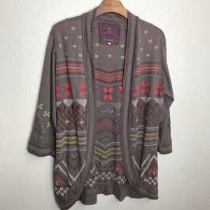 JWLA Johnny Was Embroidered Cardigan Sweater M